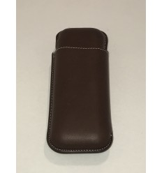 Etui 2 cigares RECIFE cuir chesterfield chocolat