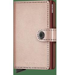 Protège cartes mini wallet Secrid métallic rose bordeaux