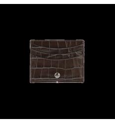 Porte cartes extra plat S.T.Dupont Dandy croco marron 6 cc
