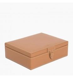 Coffret LE TANNEUR 8 montres carré cuir cognac