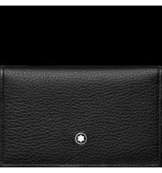 Porte cartes 2cc à pression soft grain noir